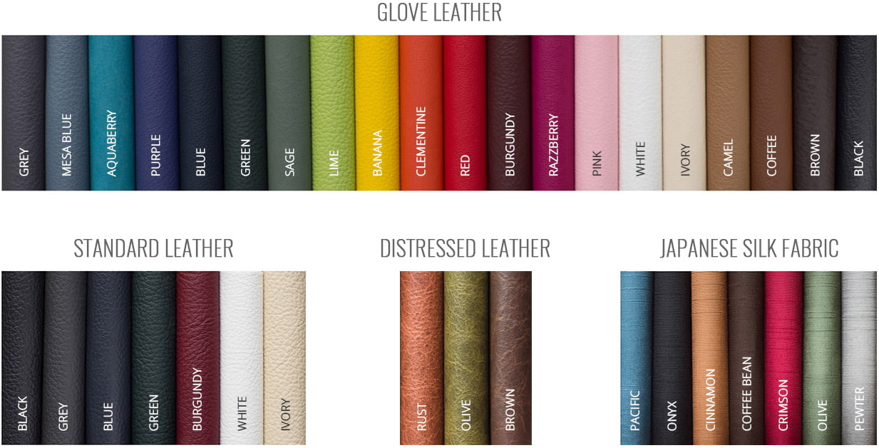 Zookbinders - Glove Leather, Standard Leather, Distressed Leather, and Japanese Silk Fabric cover options