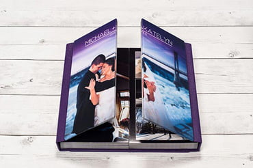 UNIQUE WEDDING ALBUM FEATURING A FRENCH-DOOR STYLE COVER